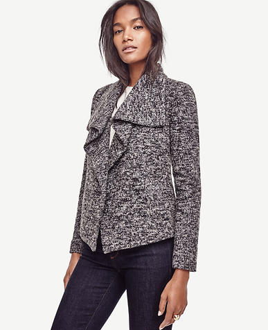 Image of Petite Draped Boucle Jacket