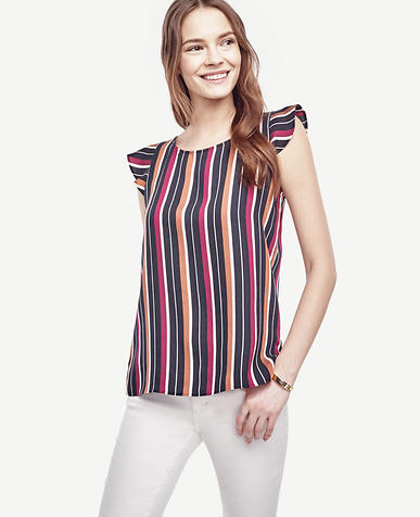 Image of Striped Flutter Top