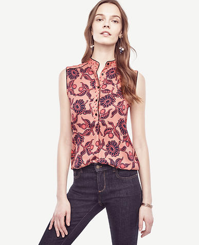 Image of Petite Daisy Piped Sleeveless Blouse