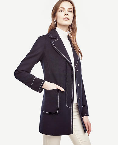Image of Petite Contrast Stitch Coat