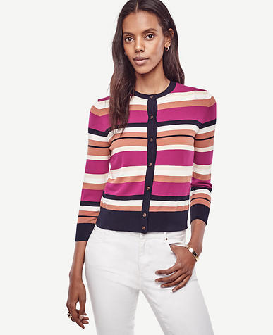 Image of Stripe Cropped Ann Cardigan