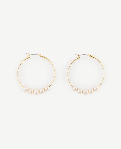 Image of Pearlized Hoop Earrings