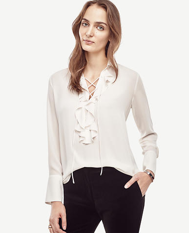 Image of Lace Up Ruffle Blouse