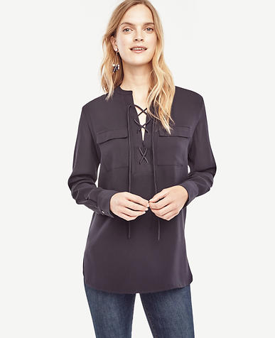 Image of Crepe Lace Up Tunic