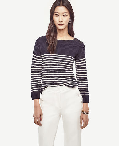 Image of Petite Striped Wool Cashmere Sweater