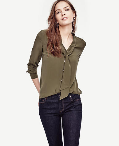 Image of Silk Tie Neck Blouse