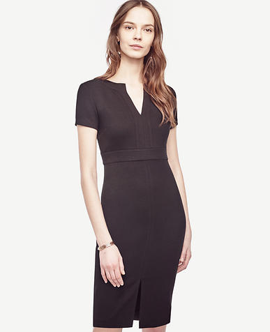 Image of Stitched Split Neck Sheath Dress