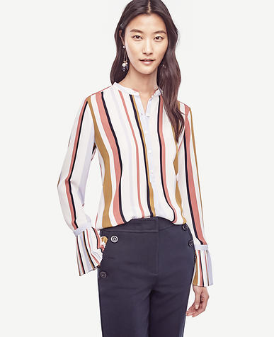 Image of Stripe Pleated Cuff Blouse