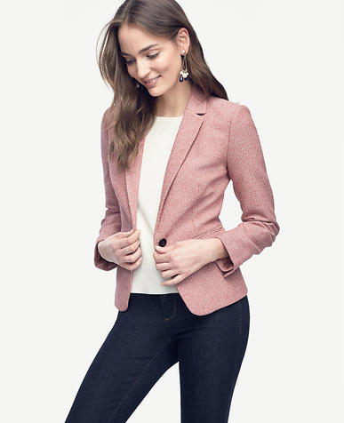 Image of Petite Tweed Single Button Jacket