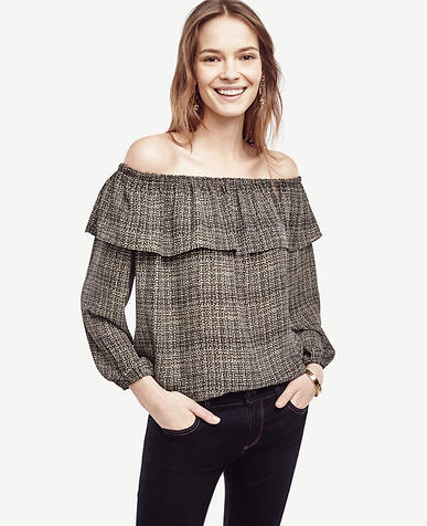 Image of Plaid Cold Shoulder Ruffle Top