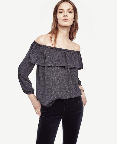 Image of Chevron Cold Shoulder Ruffle Top