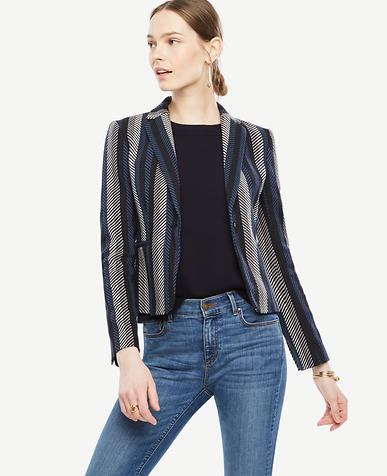 Image of Striped Twill Blazer