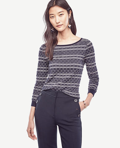 Image of Petite Striped Extrafine Merino Wool Boatneck Sweater