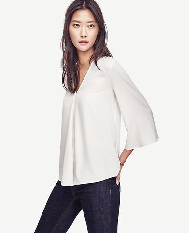 Image of Matte Jersey Pleated Top