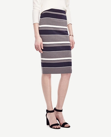 Image of Navy Stripe Sweater Pencil Skirt