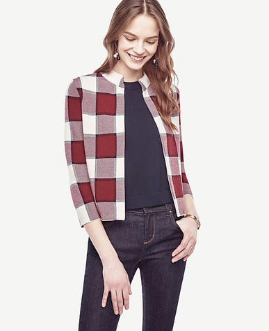 Image of Plaid Open Sweater Jacket