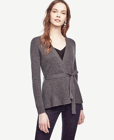 Image of Wool Cashmere Ribbed Peplum Cardigan