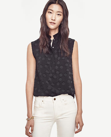 Image of Dotted Ruffle Collar Sleeveless Top