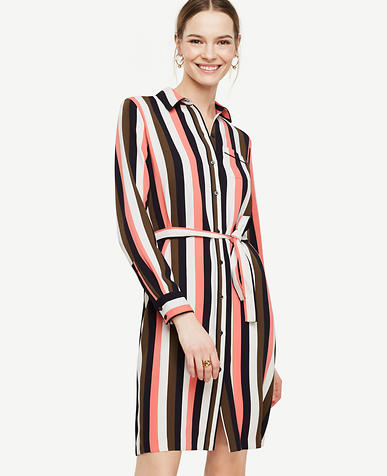 Image of Stripe Piped Shirtdress