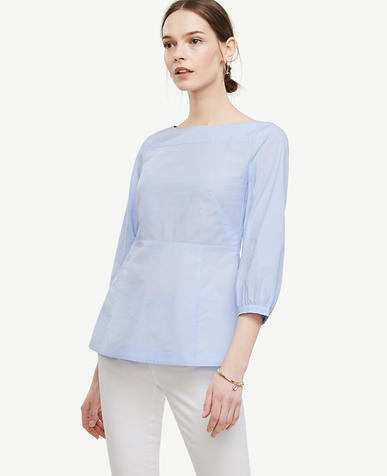Image of Striped Poplin Bateau Blouse