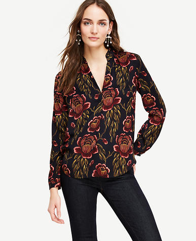 Image of Rose Garden Pleated Collar Blouse