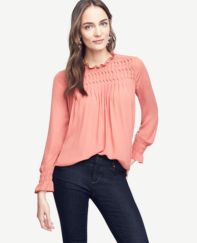 Image of Smocked Ruffle Collar Blouse