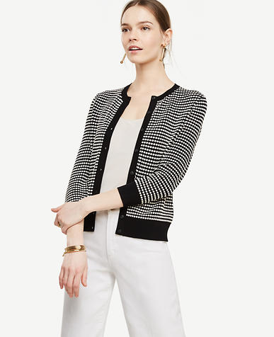 Image of Dotted 3/4 Sleeve Ann Cardigan