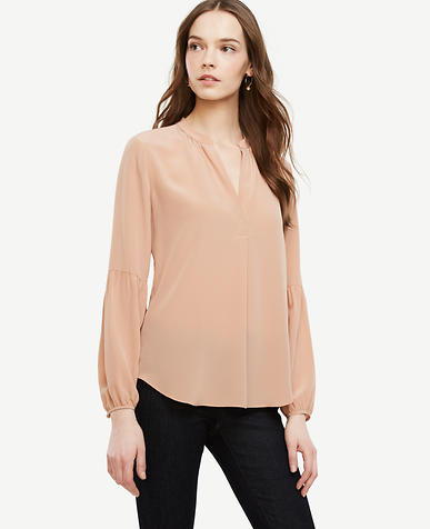 Image of Lantern Sleeve Silk Blouse