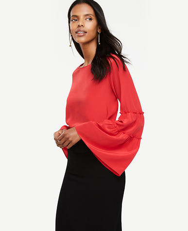 Image of Bell Sleeve Silk Blouse