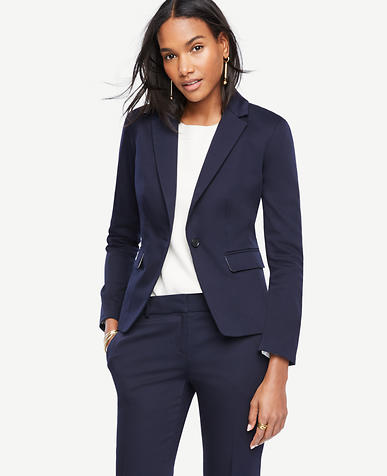 Image of Petite Cotton Sateen One Button Jacket