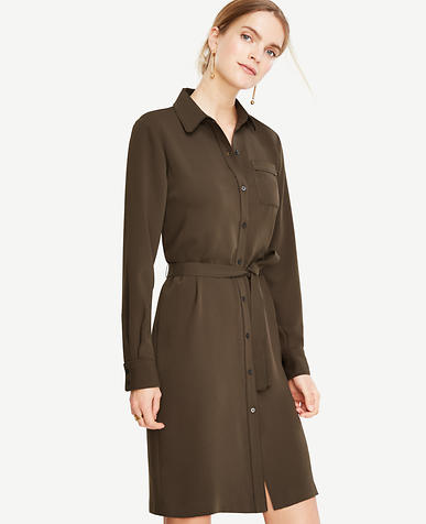 Image of Petite Piped Shirtdress
