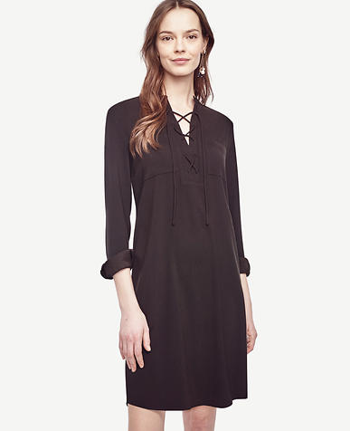 Image of Petite Lace Up Shirtdress