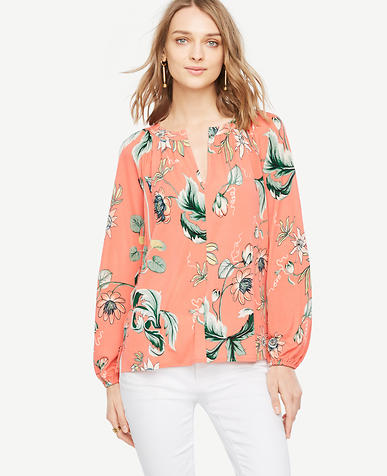 Image of Coral Oasis Georgette Split Neck Blouse