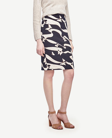 Image of Tall Butterfly Jacquard Pencil Skirt