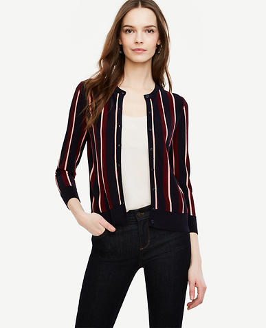 Image of Petite Striped 3/4 Sleeve Ann Cardigan