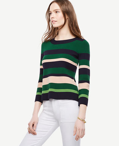 Image of Striped 3/4 Sleeve Sweater
