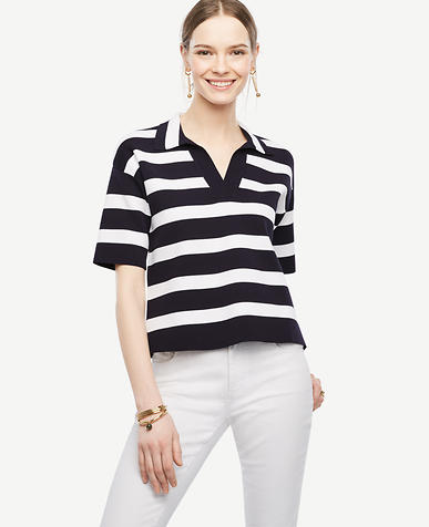 Image of Petite Striped Polo Sweater