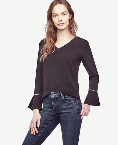 Image of Petite Lacy Bell Sleeve Top