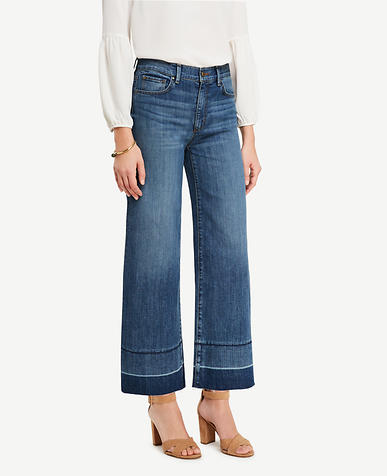 Image of Raw Hem Wide Leg Crop Jeans