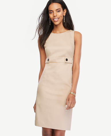 Image of Cotton Sateen Button Tab Sheath Dress