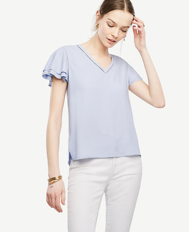 Image of Petite Perforated Flutter Top