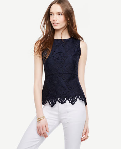 Image of Petite Paneled Botanical Lace Peplum Top