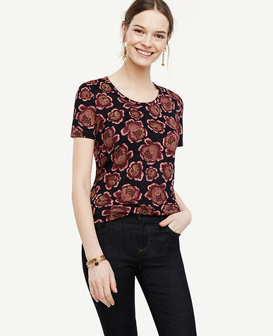 Image of Petite Floral Linen Scoop Neck Tee