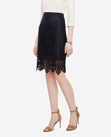 Image of Petite Botanical Lace Pencil Skirt