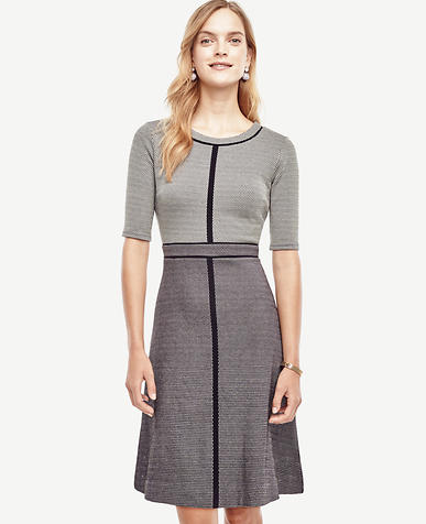 Image of Dot Textured Flare Dress