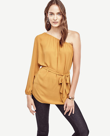 Image of Belted One Shoulder Blouse