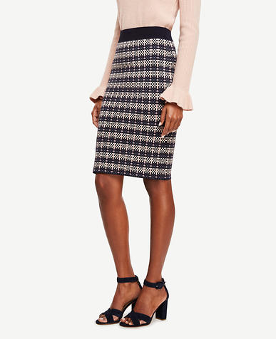Image of Tall Checkered Jacquard Pencil Skirt