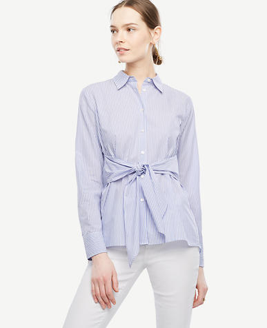 Image of Petite Striped Cinch-Waist Poplin Top