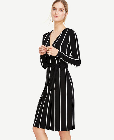 Image of Stripe Matte Jersey Wrap Dress