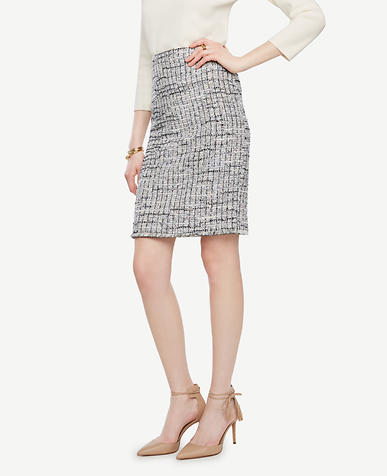 Image of Grid Fringe Tweed Pencil Skirt